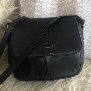 Black Etienne Aigner Leather Handbag Shoulder EXC